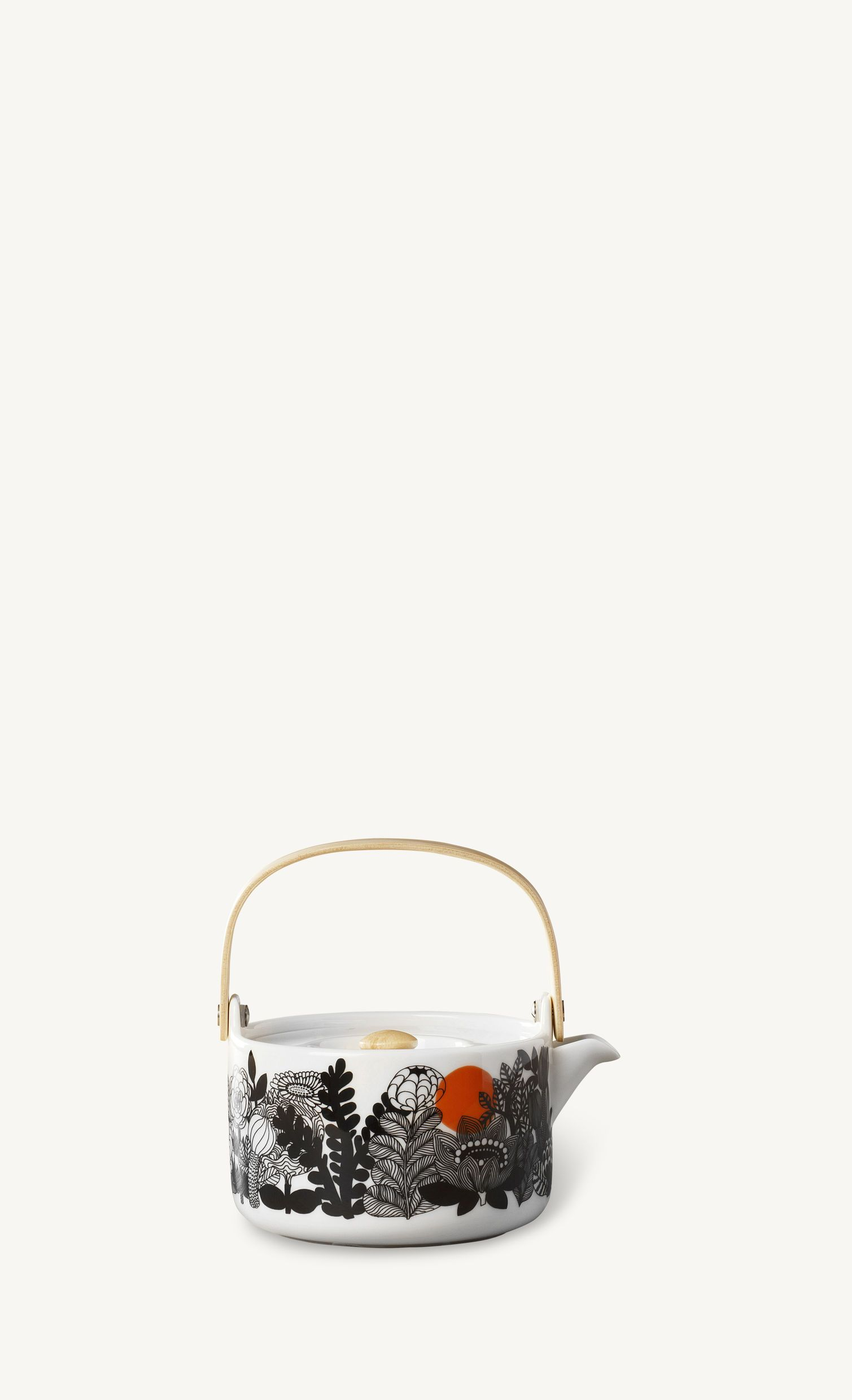 Marimekko, Siirtolapuutarha Teapot, White/Black/Orange- Placewares