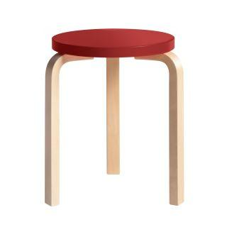 Artek, Stool 60 - Seat Red Lacquered, Legs Natural Lacquered, Legs natural lacquered - seat red lacquered- Placewares