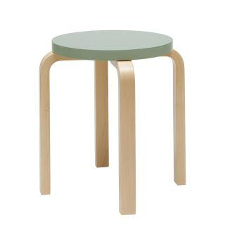 Artek, Stool E60 - Seat Green Lacquered Green, Legs Natural Lacquered, Legs Natural Lacquered - Seat Green Lacquered- Placewares