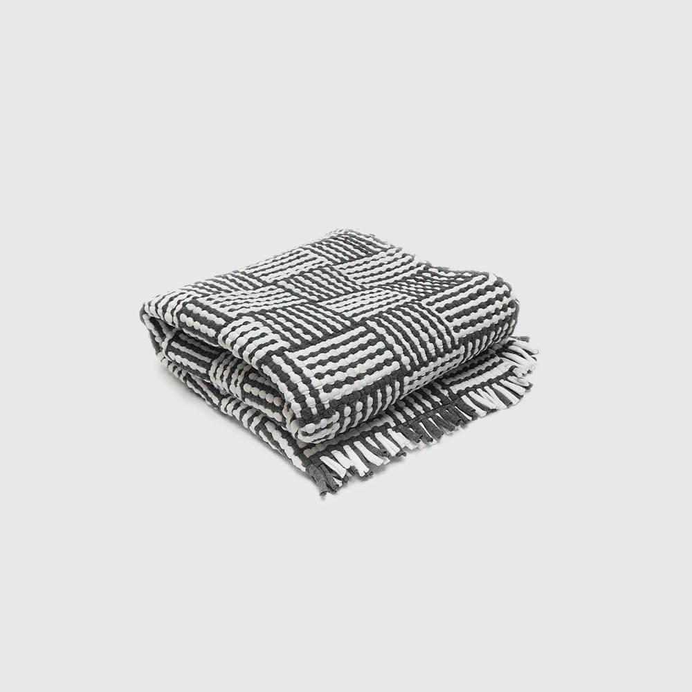 Utilitario Mexicano, Handmade Mexican Cotton Plaid Mat, assorted colors, Big Mat / Sky Blue, Black & White- Placewares
