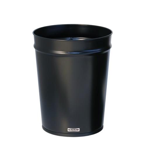 Bunbuku, Painted Steel Tapered Wastebasket, 3 gal - Black, Black- Placewares