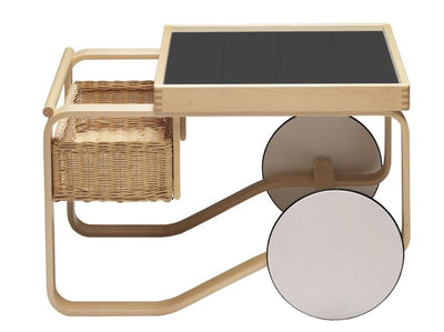 Artek, Tea Trolley 900 Alvar Aalto, Frame: birch, clear lacquer Wheels: MDF, white lacquer Top surface: ceramic, black glaze- Placewares