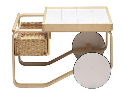 Artek, Tea Trolley 900 Alvar Aalto, Frame: birch, clear lacquer Wheels: MDF, white lacquer Top surface: ceramic, white glaze- Placewares