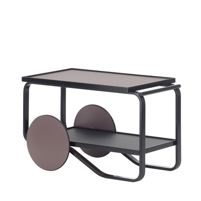 Artek, Tea Trolley 901 Alvar Aalto, Frame: birch, black lacquer Wheels: MDF, peat lacquer Top and shelf surface: linoleum, peat and linoleum, charcoal- Placewares