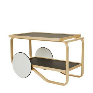 Artek, Tea Trolley 901 Alvar Aalto, Frame: birch, clear lacquer Wheels: MDF, white lacquer Top and shelf surface: linoleum, black- Placewares
