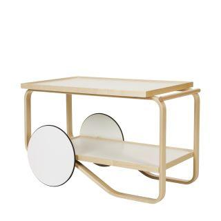 Artek, Tea Trolley 901 Alvar Aalto, Frame: birch, clear lacquer Wheels: MDF, white lacquer Top and shelf surface: HPL, IKI white- Placewares