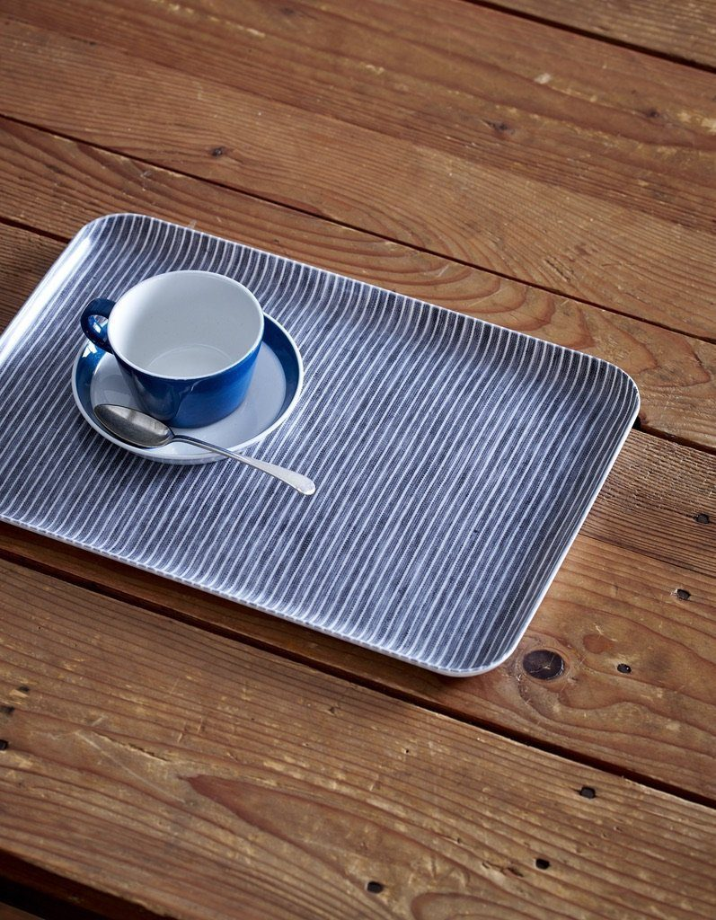 Fog Linen, Japanese Linen Coated Tray, grey and white thin stripe - assorted sizes, Large- Placewares