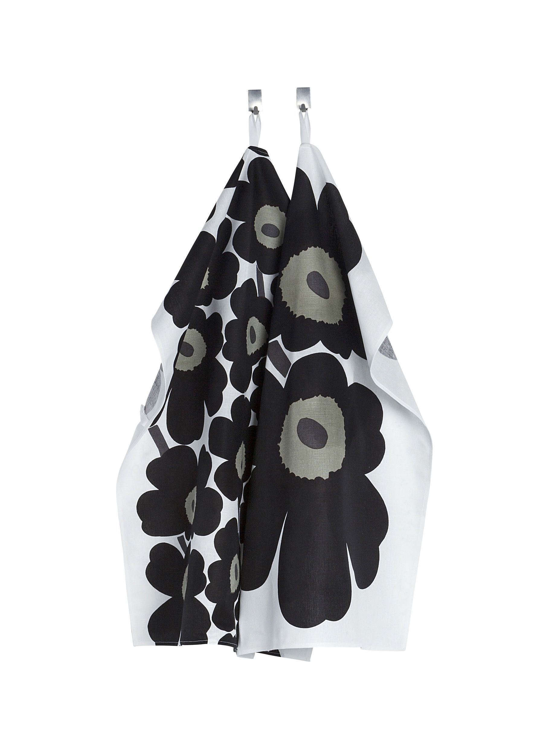 Marimekko, Unikko Tea Towel Set, White/Black- Placewares