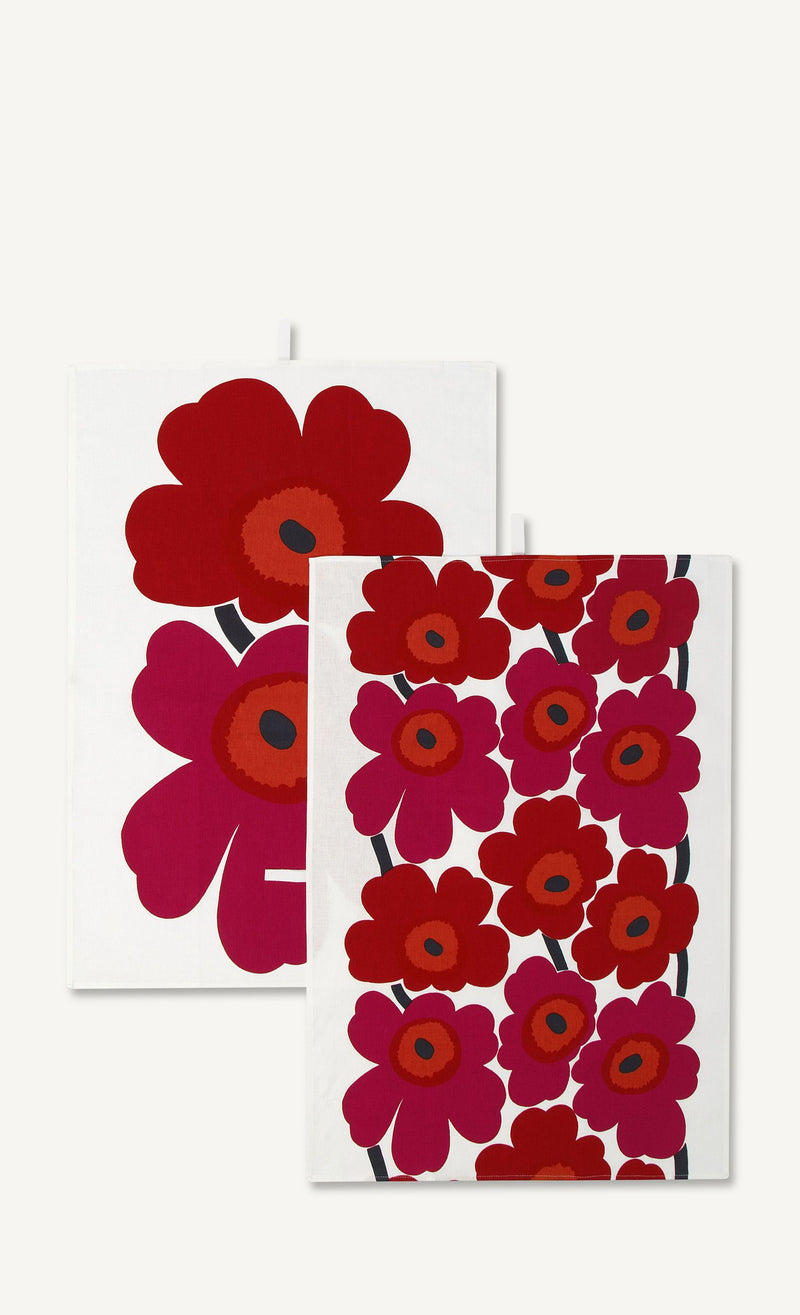 Marimekko, Unikko Tea Towel Set, White/Red- Placewares