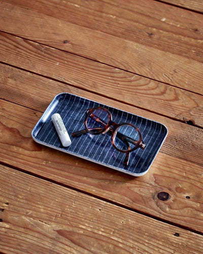 Fog Linen, Japanese Linen Coated Tray, navy and white stripe - assorted sizes, Small- Placewares