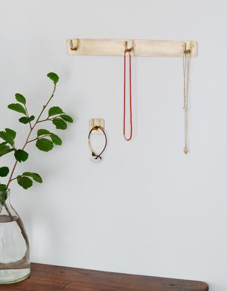 Fog Linen, Handmade Brass Plate Triple Hook, One-Size- Placewares