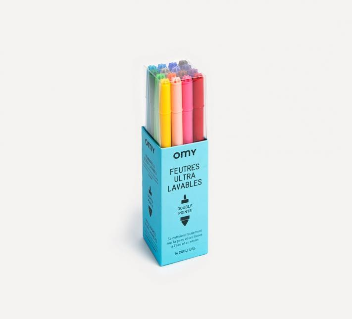 OMY, UltraWashable Double-Tipped Felt Coloring Markers, - Placewares