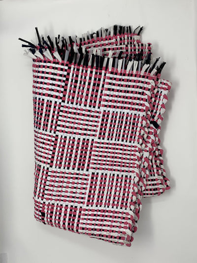 Utilitario Mexicano, Handmade Mexican Cotton Plaid Mat, assorted colors, Big Mat / Magenta, Black & White- Placewares