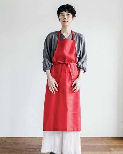 Fog Linen, Linen Full Apron, Poppy Red- Placewares