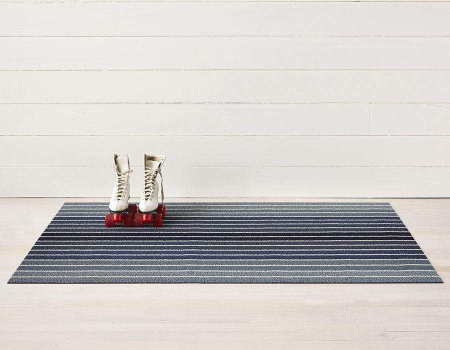"Chilewich, Block Stripe Indoor/Outdoor Shag Floor Mats, Denim / Doormat (18 x 28"")- Placewares"