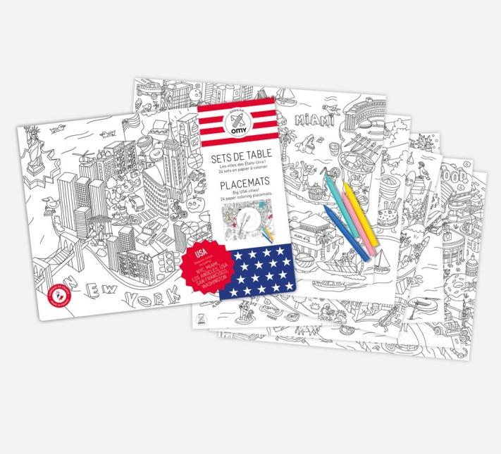OMY, USA Coloring Placemats, - Placewares