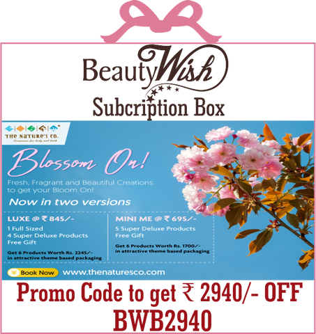 "Annual Subscription from April'19 ""Blossom On""  LUXE  BeautyWish Box"
