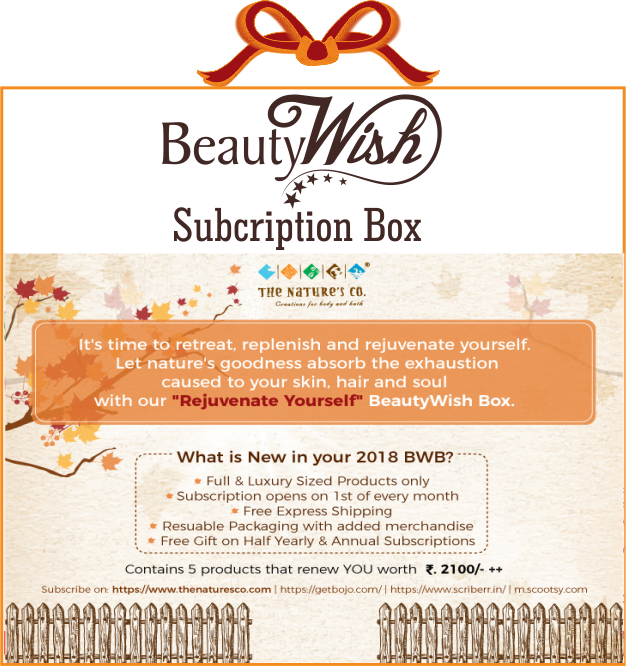 "Monthly Subscription from November ""Rejuvenate Yourself"" BeautyWish Box"