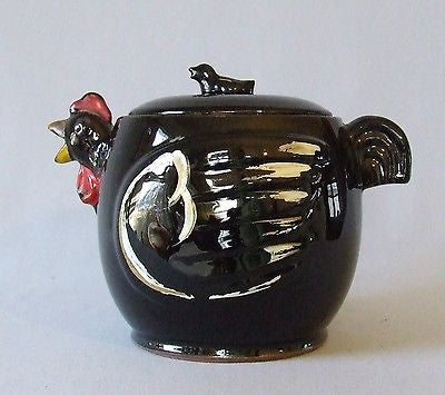 Vintage Black Chicken Tea Pot Hand Painted