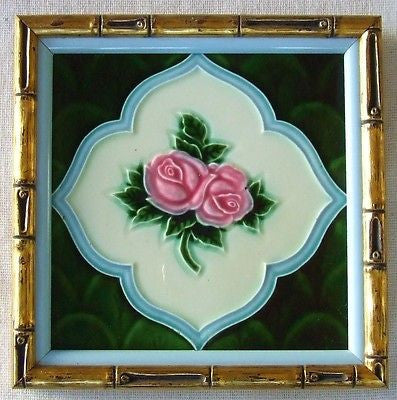 Framed Antique Art Nouveau Tile Gilded Faux Bamboo Frame