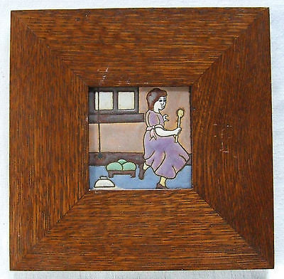 Framed AETCO Tile Nursery Rhyme Little Miss Muffet Arts & Crafts Pottery Mission