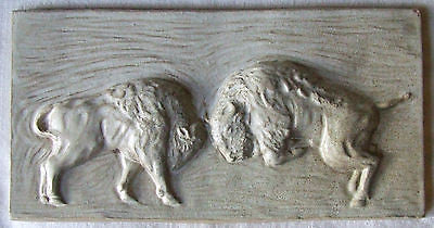 Arts & Crafts Buffalo BisonTile Sparring Bulls High Relief