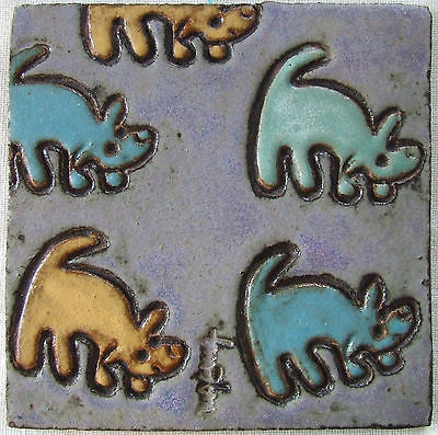 Modern Arts & Crafts Animal Tile Matte Glazes Dogs
