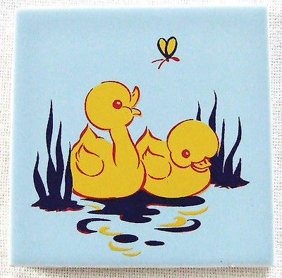 Americana Art Tile Ducks & Butterfly