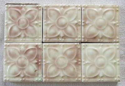 6 Antique Victorian American Old Bridge Art Pottery Tiles Vintage