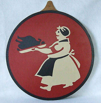 Vtg Display Sample Woman in Apron w/ Turkey Diner Style Die Cut Vinyl