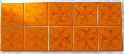 10 Vintage MCM Ceramic Orange Tile German Modernism Villeroy and Boch Mettlach
