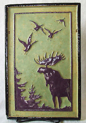 Franklin Moose & Geese Tile Silhouette Arts Crafts Adirondack Lodge Decor