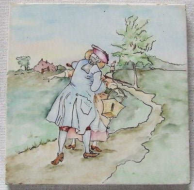 Kissing Couple Mosaic Tile Vtg China Painting Shabby Cottage Country Caldecott