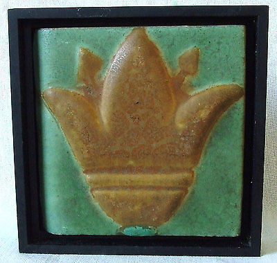 Owens Pottery American Arts & Crafts Lotus Tile Framed