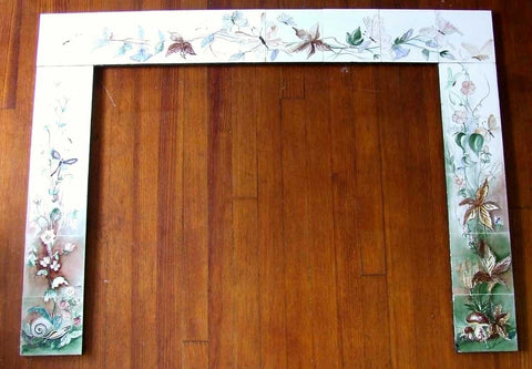 Mid Century Tile Fireplace Surround Hand Painted
