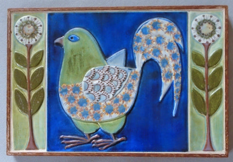 Royal Copenhagen Bird Tile Panel Framed by Berte Jessen