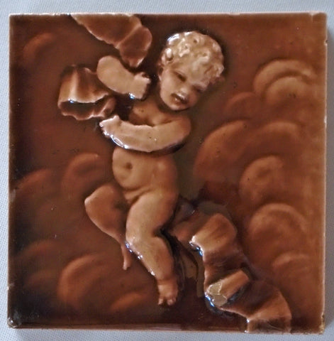 Trent Tile Putto on a Ribbon by Isaac Broome
