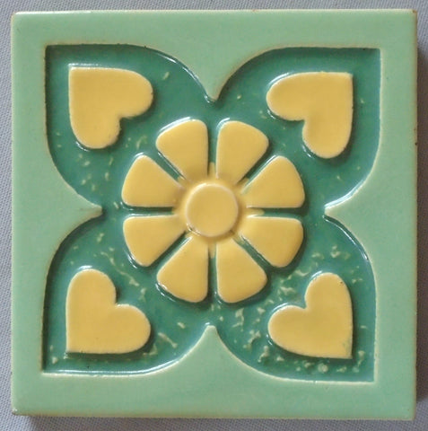 Mosaic Tile Company Daisy and Hearts Art Deco Tile
