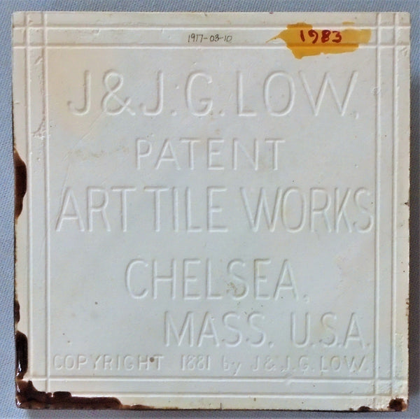 J & J G Low Art Tile Portrait Bungalow Bill Antique