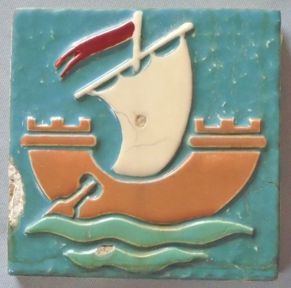 Arts and Crafts Ship Mosaic Tile Company Bungalow Bill Antique