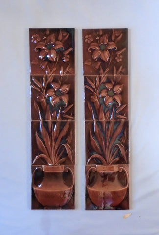 Tile Fireplace Panels, Potted Lilies by American Encaustic Tile Company