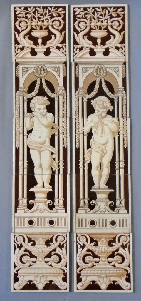 Minton China Works English Transfer Tile Panels of Putti Bungalow Bill Antique