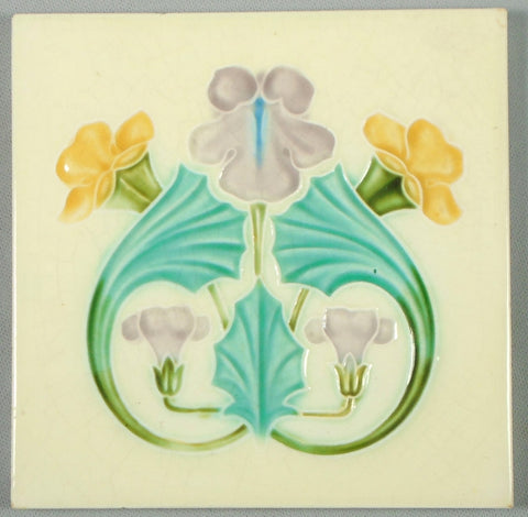 English Art Nouveau Tile Bungalow Bill Antique