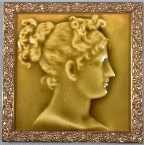 Vintage Framed Trent Portrait Tile of a Woman in Profile by Isaac Broome