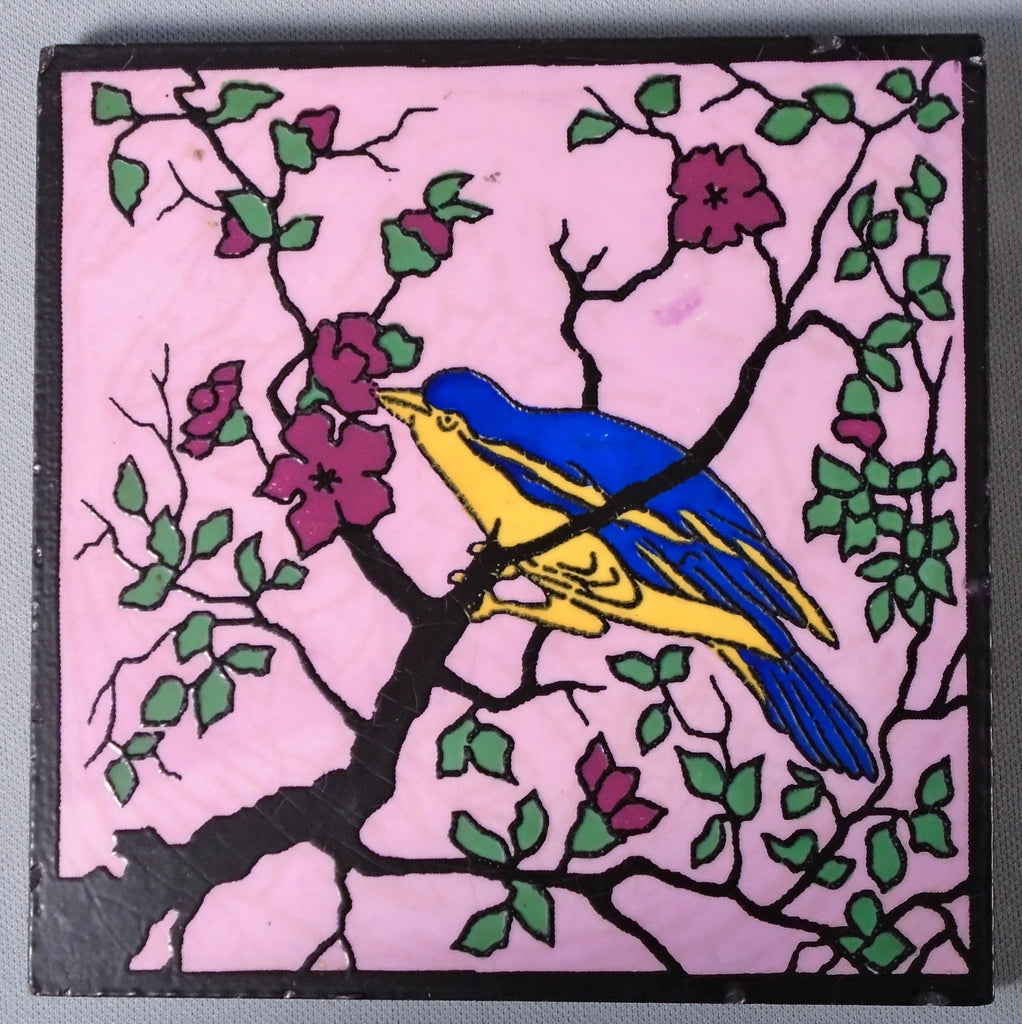 Dec-Art Tile Bird in Tree California Art Deco Pottery Bungalow Bill antique