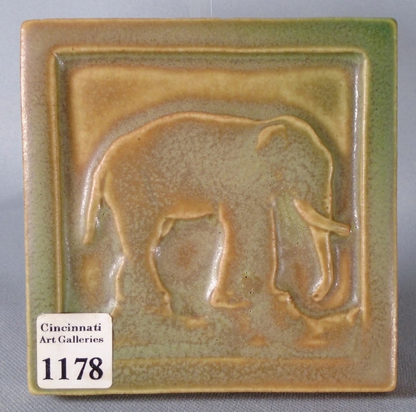 Rookwood Pottery Elephant Tile Paperweight 1913 Bungalow Bill Antique