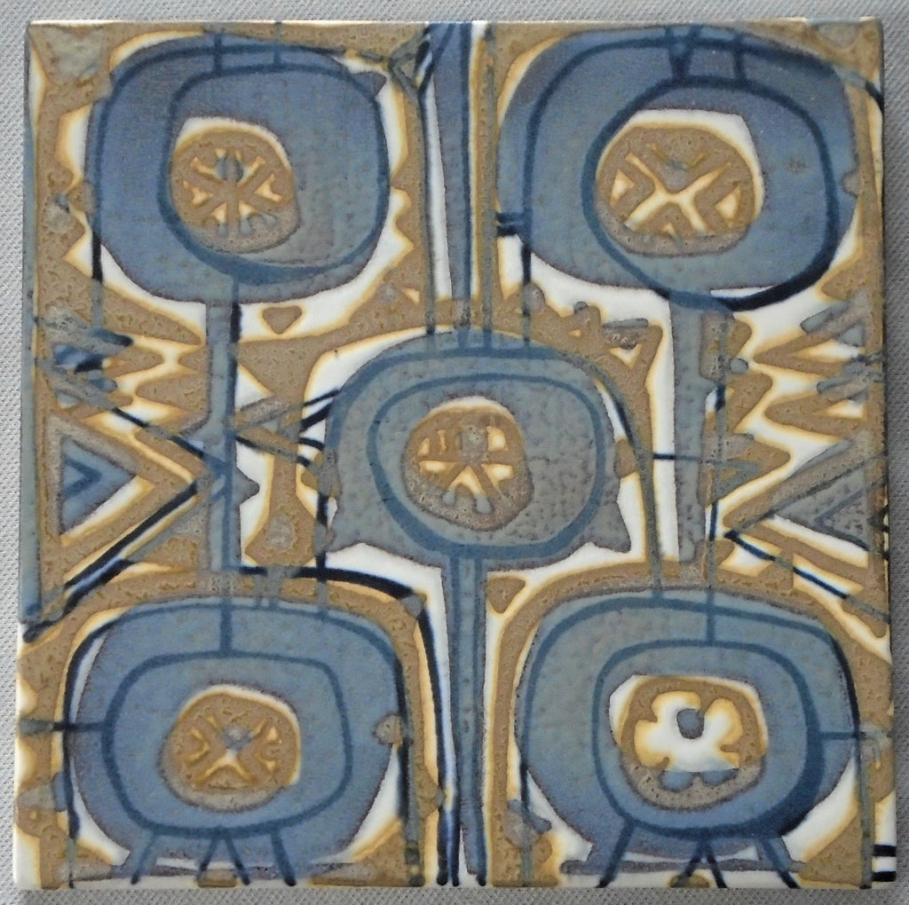 Royal Copenhagen Aluminia Faience Pottery Tile by Johanne Gerber Bungalow Bill Antique