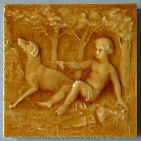 AETCO American Encaustic Tile Company Boy and His Dog Bungalow Bill Antique