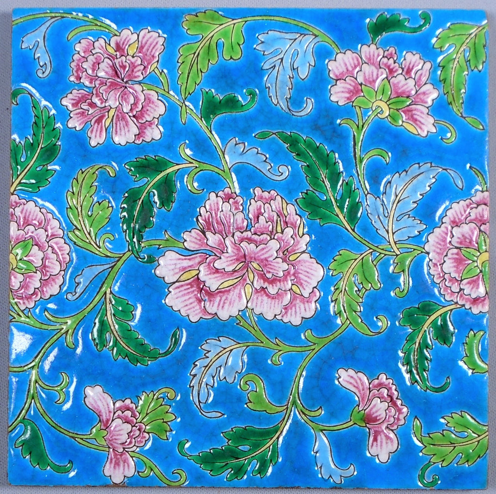 Gien Tile Japonais Peony Flowers Bungalow Bill Antique