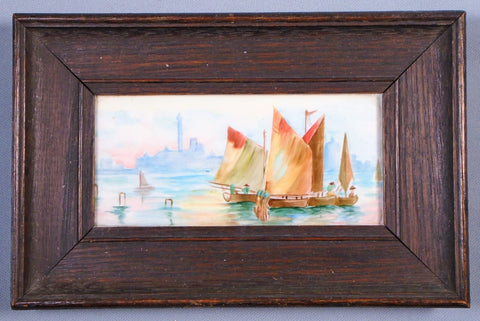 Arts and Crafts Era Hand Painted Tile of Venice Italy in Frame